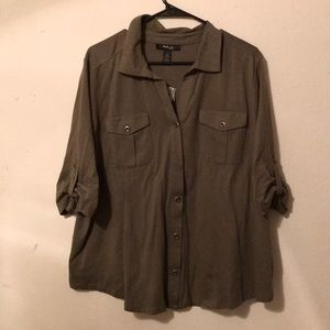 Olive Green button down blouse